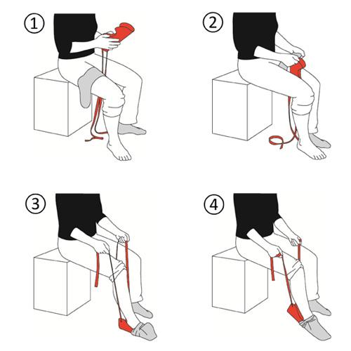 Strumpfanziehhilfe mit Bändern